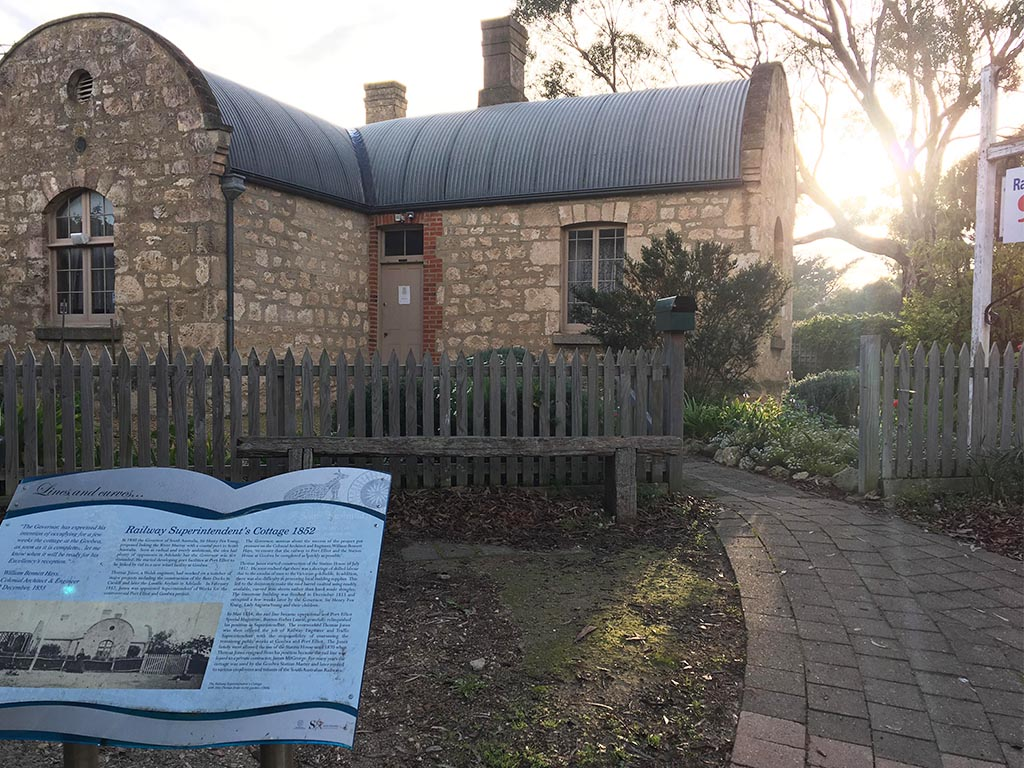 Railway Superintendent's Cottage, built in 1852. The railway was built quickly, and local building materials were difficult to source, so the roof of this cottage was built as a barrelled roof to save materials